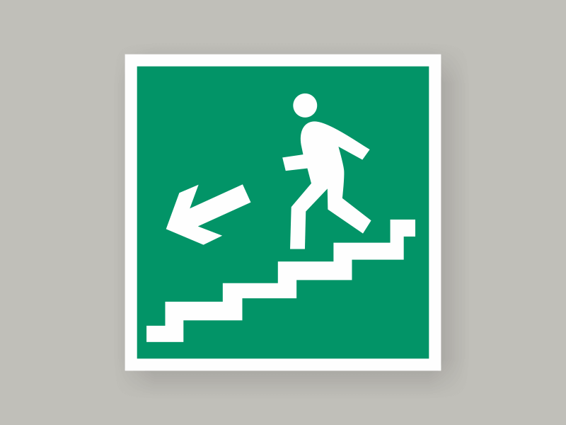 Табличка направление к эвакуационному выходу по лестнице вниз Е14