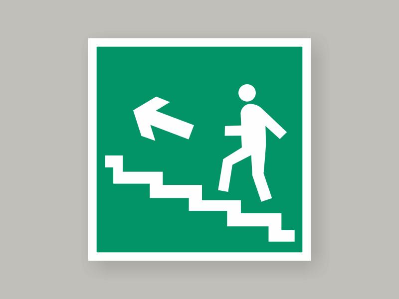 Табличка направление к эвакуационному выходу по лестнице вверх Е16
